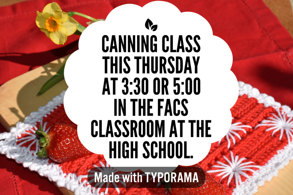 Canning Class Offered