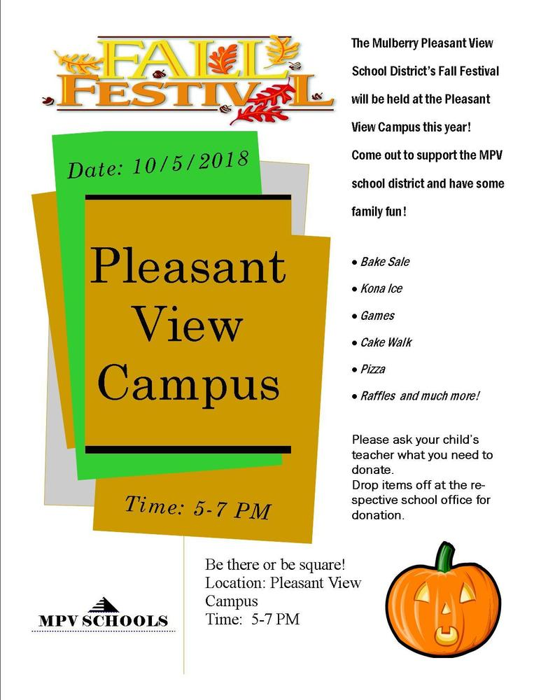 Fall Festival Friday 10/5  5-7 @ PV